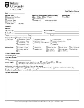 Sample Job Notice Form Template