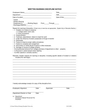 Free Download PDF Books, Discipline Warning Notice Form Template