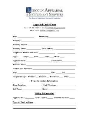 Free Download PDF Books, Appraisal Billing Order Form Template