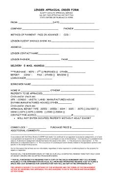 Free Download PDF Books, Lender Appraisal Order Form Template
