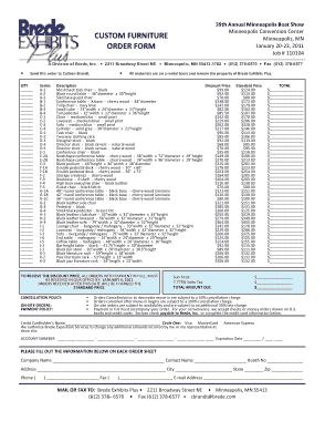 Custom Furniture Order Form Template
