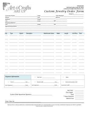 Free Download PDF Books, Custom Jewelry Order Form Template