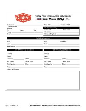Custom Shop Order Form Template