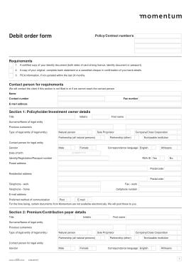 Free Download PDF Books, Momentum Debit Order Form Template
