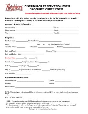 Free Download PDF Books, Distributor Reservation Order Form Template