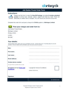 Free Download PDF Books, Job Seeker Postal Order Form Template