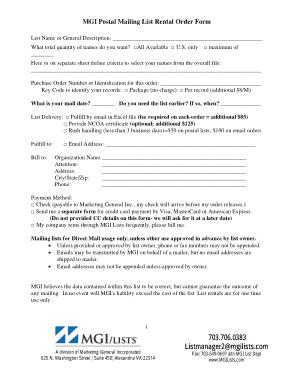 Free Download PDF Books, Postal Mailing List Rental Order Form Template