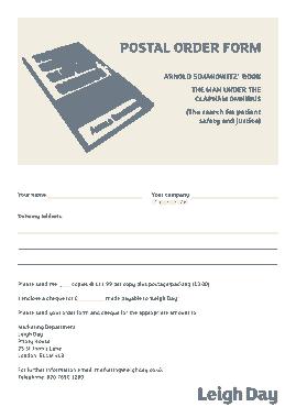 Free Download PDF Books, Postal Order Form Template