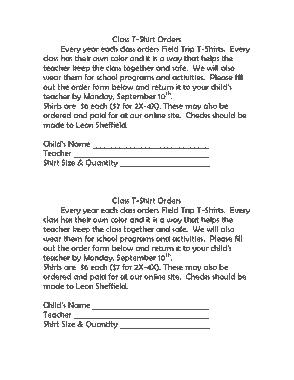 Free Download PDF Books, Class Field Trip T Shirt Order Form Template