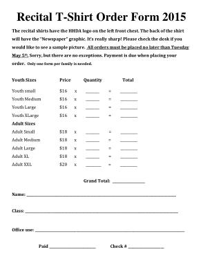 Free Download PDF Books, Recital T Shirt Order Form Template