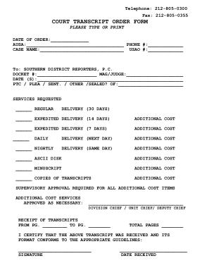 Free Download PDF Books, Court Transcript Order Form Sample Template