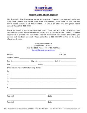 Maintenance Request Tenant Form Template
