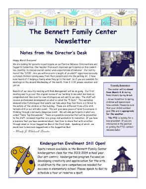 Free Download PDF Books, Bennett Family Center Newsletter Template
