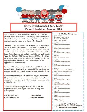 Free Download PDF Books, Clover Preschool Newsletter Template