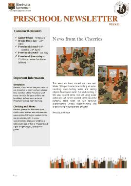 Free Download PDF Books, Preschool Sample Newsletter Week Template