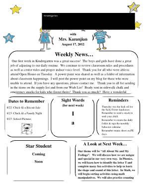 Free Download PDF Books, Kindergarten Newsletter For Children Template