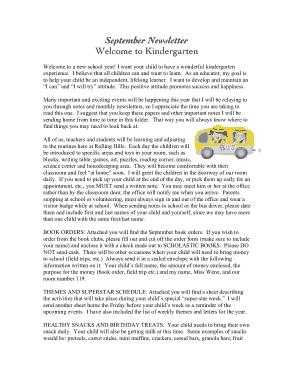 Kindergarten September Newsletter Template