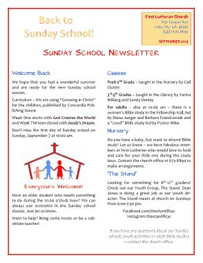 Free Download PDF Books, Sunday School Newsletter Template