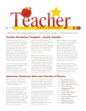 Free Download PDF Books, Teacher Newsletter Template