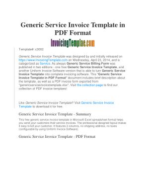 Free Download PDF Books, Generic Service Invoice Sample Template