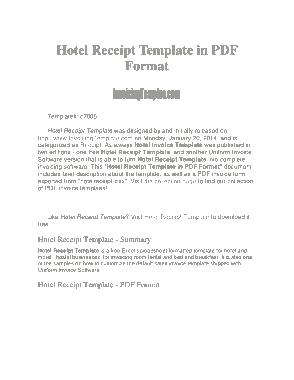 Free Download PDF Books, Hotel Bill Invoice Receipt Template
