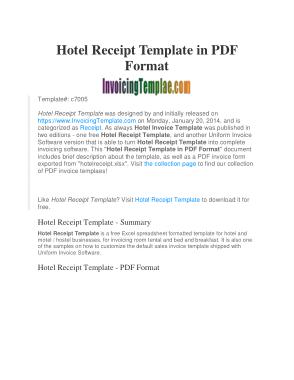 Free Download PDF Books, Hotel Room Invoice Template