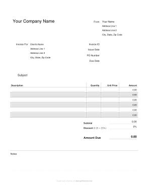 Free Download PDF Books, Company Invoice Template