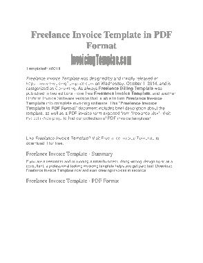 Free Download PDF Books, Freelance Job Invoice Template