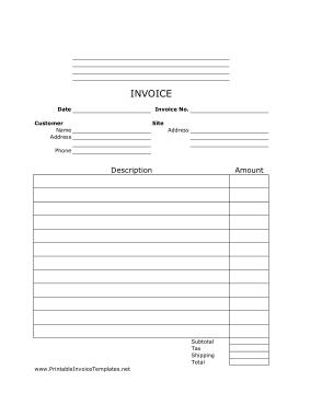 Free Download PDF Books, Job Invoice Lined Portrait Template