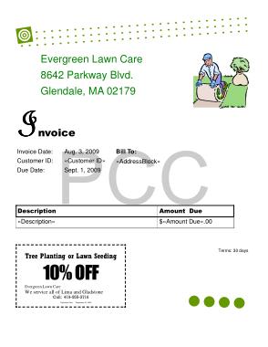 Free Download PDF Books, Evergreen Lawn Care Invoice Sample Template