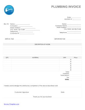 Free Download PDF Books, Blank Plumbing Invoice Template