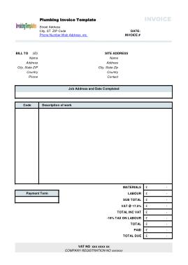 Free Download PDF Books, Generic Plumbing Invoice Template