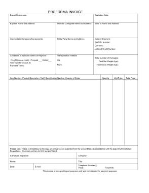 Free Download PDF Books, Printable Proforma Invoice Template