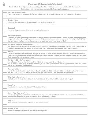 Purchase Order Invoice Checklist Sample Template