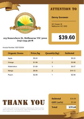 Free Download PDF Books, Farm Invoice Sample Template