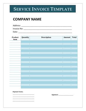 Sample Service Invoice Template