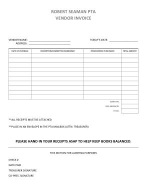 Free Download PDF Books, Blank Vendor Invoice Template