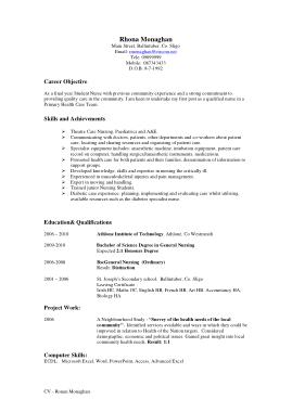 Free Download PDF Books, Sample Nurse Resume Template