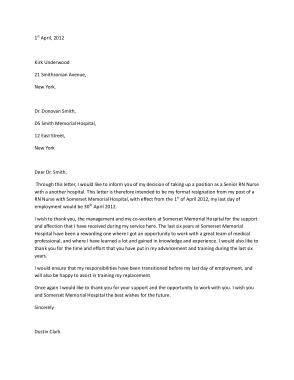 Free Download PDF Books, Registered Nurse Resignation Letter Sample Template