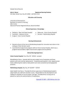 Free Download PDF Books, Sample Registered Nurse Resume Example Template