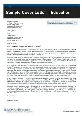 Free Download PDF Books, Graduate Teacher Cover Letter Template