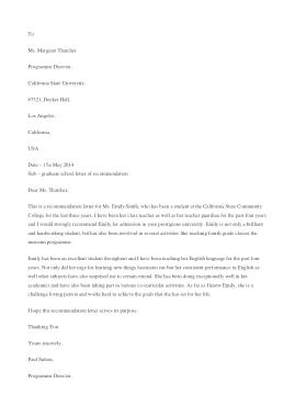 Free Download PDF Books, Graduate School Recommendation Letter Template