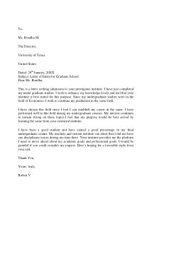 Free Download PDF Books, Letter Of Intent Graduate School Sample Template