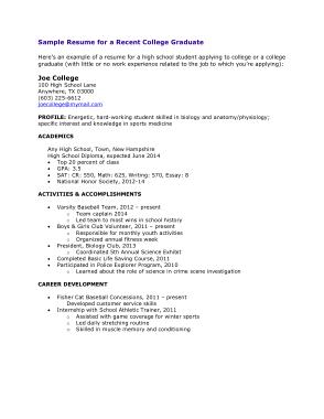 Free Download PDF Books, College Graduate Profile Resume Template