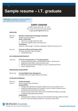 Free Download PDF Books, IT Graduate Resume Template