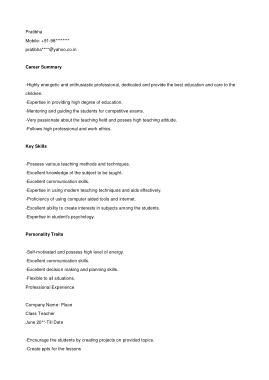 Free Download PDF Books, Teacher Graduate Resume Template