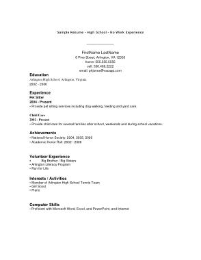 Free Download PDF Books, Graduate High School Resume No Experience Template