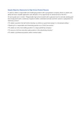 High School Graduate Resume Objective Template