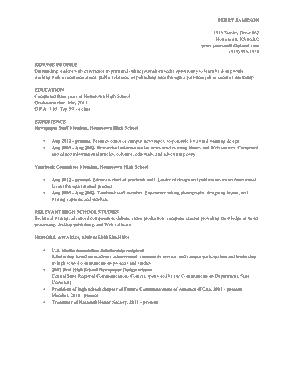 Resume For Graduate School Academic Template