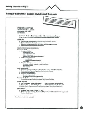 Free Download PDF Books, Recent High School Graduate Sample Resume Template